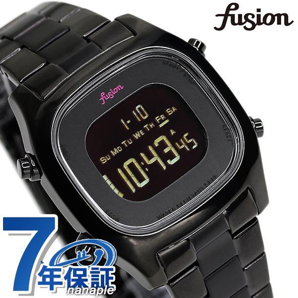【シール付き♪】セイコー アルバ フュージョン fusion 80's デジタル メンズ レディース 腕時計 AFSM401 SEIKO スクエア オールブラック 時計