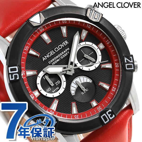 エンジェルクローバー ブリオ クロノグラフ メンズ BR43BBK-RE Angel Clover 腕時計 ブラック×レッド 時計