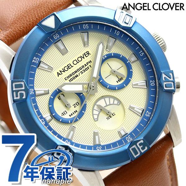 エンジェルクローバー ブリオ 43mm クロノグラフ メンズ BR43BUIV-LB Angel Clover 腕時計 革ベルト 時計