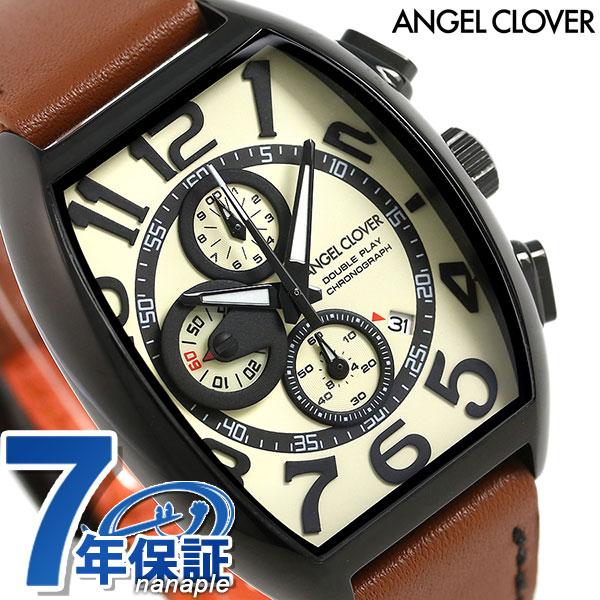 エンジェルクローバー ダブルプレイ クロノグラフ メンズ DP38BSB-LBN Angel Clover 腕時計 アイボリー×ブラウン 時計
