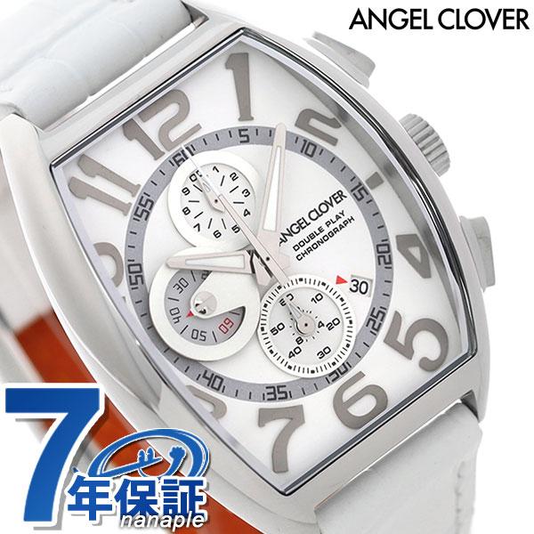 エンジェルクローバー ダブルプレイ クロノグラフ メンズ DP38SWH-WHN Angel Clover 腕時計 ホワイト 時計【あす楽対応】