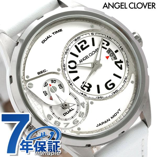 エンジェルクローバー デュエル 47mm デュアルタイム メンズ DU47SWH-WH Angel Clover 腕時計 革ベルト 時計