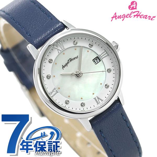 エンジェルハート 時計 リュクス 26mm ソーラー レディース 腕時計 LU26S-NV AngelHeart ホワイトシェル×ネイビー