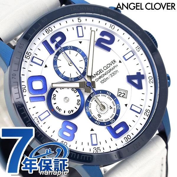 エンジェルクローバー ルーチェ 44mm クロノグラフ メンズ LU44BNV-WH ANGEL CLOVER 腕時計 革ベルト 時計【あす楽対応】