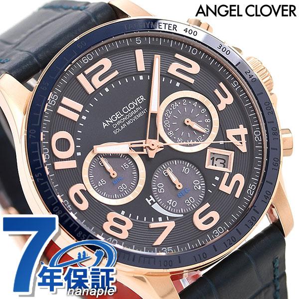 エンジェルクローバー ソーラー クロノグラフ メンズ 腕時計 LUS44P-NV ANGEL CLOVER ルーチェ ソラーレ 革ベルト 時計【あす楽対応】
