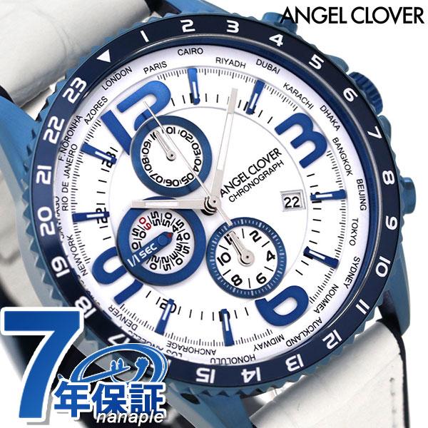 Angel clover Mond chronograph men watch MO44BNV-WH ANGEL CLOVER leather  belt clock