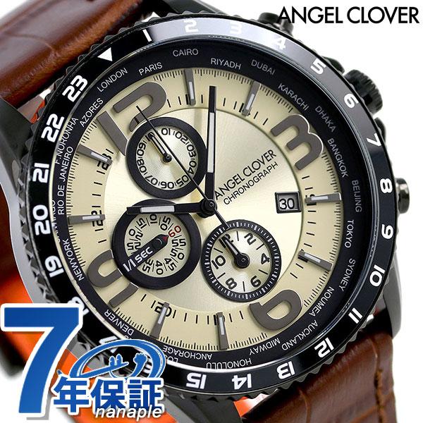 Angel clover Mond chronograph men MO44BSB-LB Angel Clover watch ivory X  brown clock