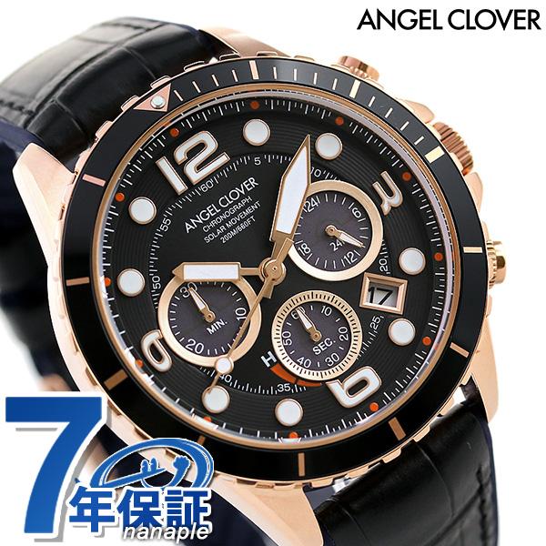 【10日はさらに+4倍で店内ポイント最大53倍】 エンジェルクローバー 時計 ソーラー メンズ 腕時計 クロノグラフ TCD45PBK-BK ANGEL CLOVER タイムクラフトダイバー ブラック【】