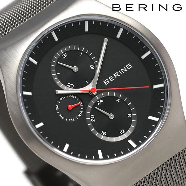 ベーリング カービング メッシュ 42mm クオーツ メンズ 11942-372 BERING 腕時計 ブラック 時計【あす楽対応】