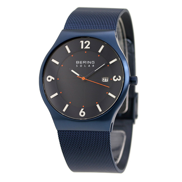 Bering clock solar 40mm men's 14,440-393 BERING watch navy clock