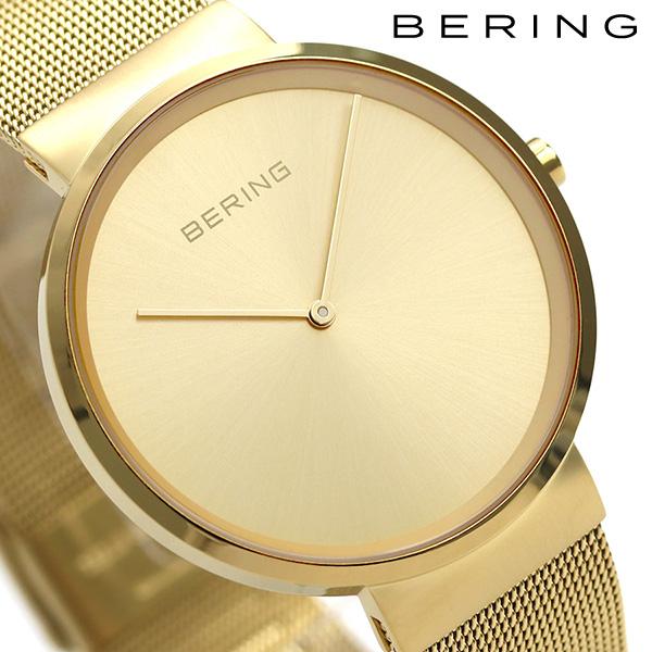 ベーリング カービング メッシュ 39mm メンズ 腕時計 14539-333 BERING ゴールド 時計【あす楽対応】