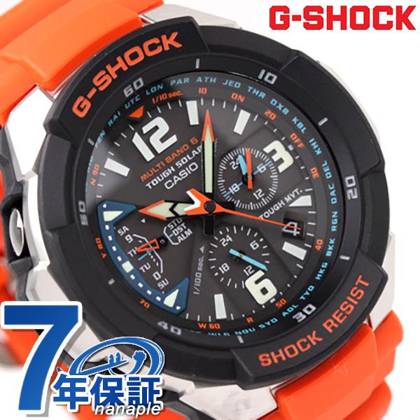 GW-3000M-4AER ジーショック G-SHOCK CASIO 腕時計 SKY COCKPIT スカイコクピット ソーラー 電波 アナログ ブラック×オレンジ 時計【あす楽対応】