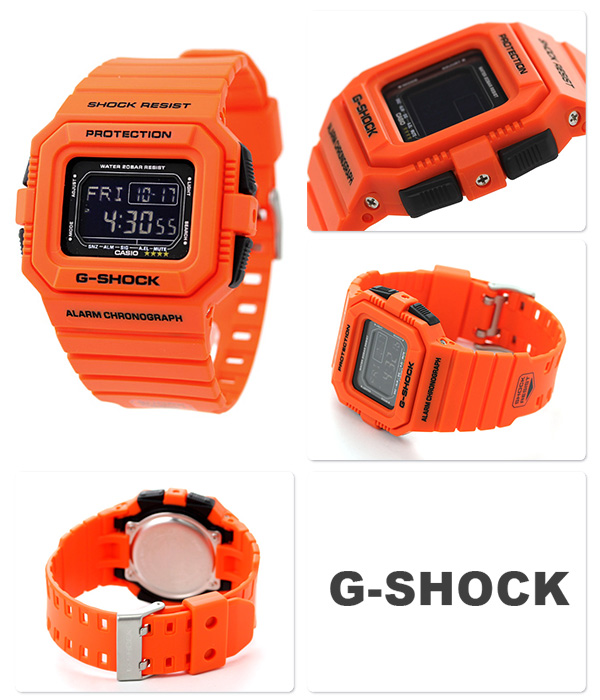 DW-D5500MR-4DR G-SHOCK救援橙子系列人手表卡西欧G打击石英黑色×橙子