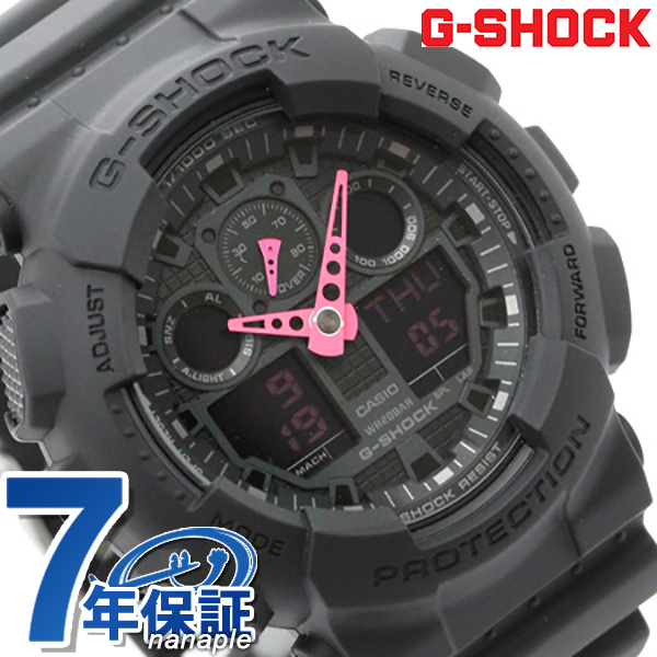 G shock mens is quartz GA-100C-1 A4DR CASIO g-shock watch-all black / pink P19May15