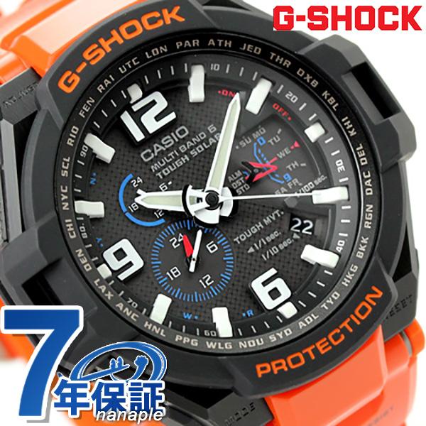 G-shock cockpit Sky Radio solar mens watch GW-4000R-4AER Casio G-shock black × orange