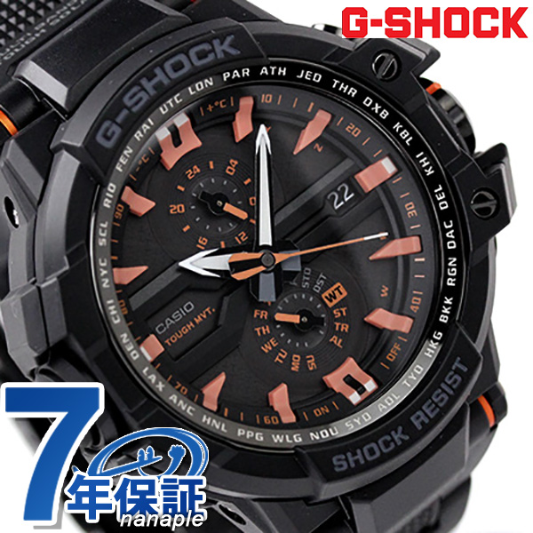 GW-A 1000FC-1 A4DR G-shock sky cockpit mens wave solar CASIO g-shock watch-all black / orange