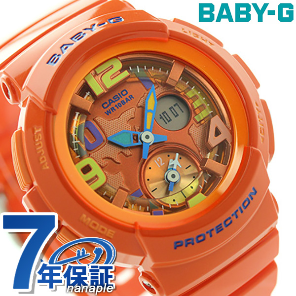 Baby-g Beach-traveler series ladies watch BGA-190-4BDR Casio baby G quartz Orange