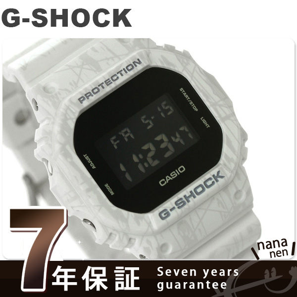 G-shock DW-5600SL-7DR slash-pattern-series men's Casio G-shock watch black x White