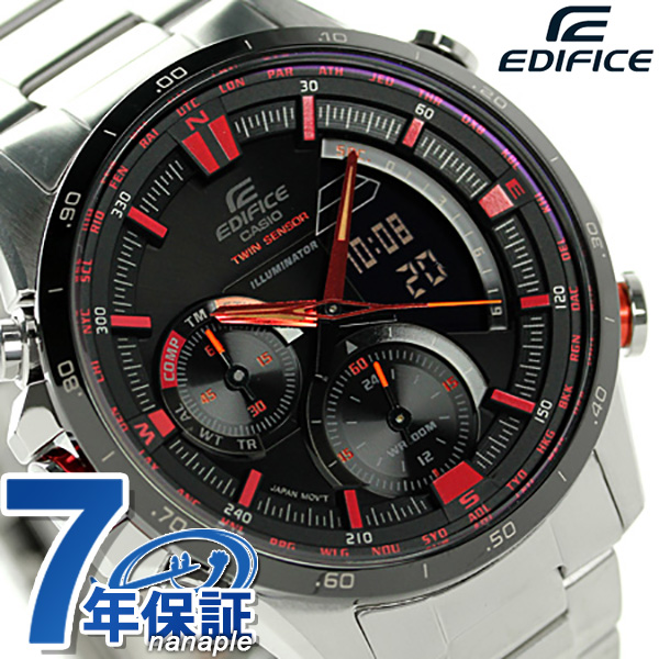 kashioedifisuneoniruminetamenzu手表ERA-300DB-1AVDR CASIO EDIFICE石英黑色×红