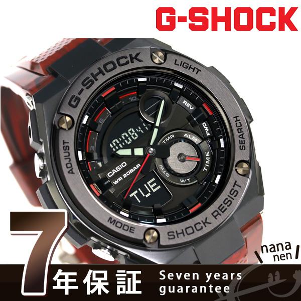G-SHOCK G钢铁石英人手表GST-210M-4ADR卡西欧G打击黑色×红