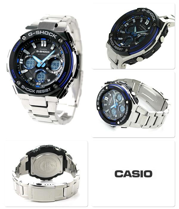 GST-S 100D-1 A2DR g-shock G steel mens watch Casio G-shock black × blue