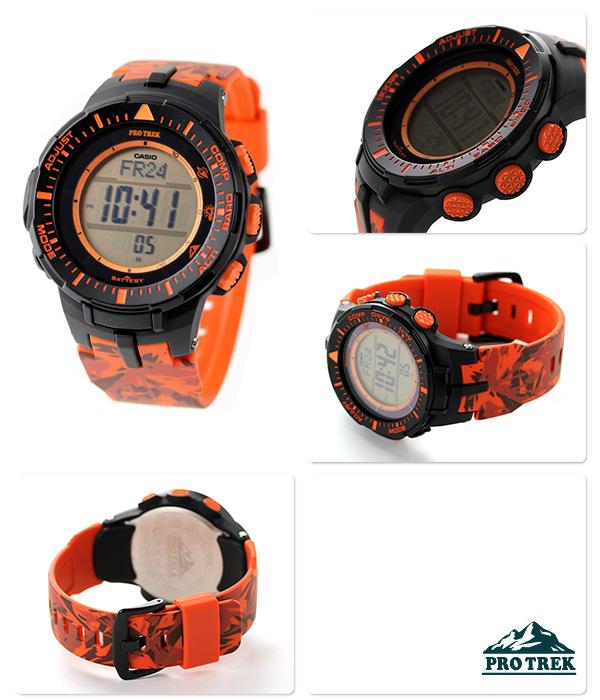 卡西欧初期Lec太阳能三倍感应器PRG-300CM-4DR CASIO PRO TREK手表橙子×伪装花纹