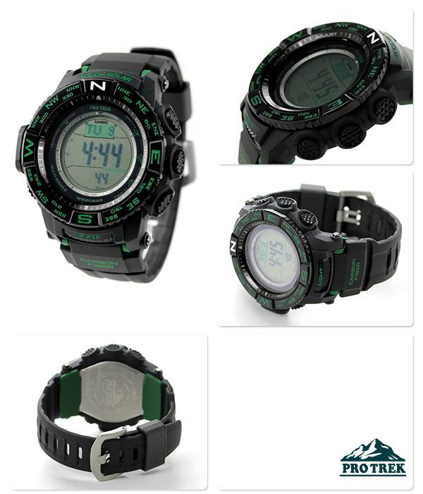 b342e88456 カシオプロトレック電波ソーラートリプルセンサーPRW-S3500-1DRCASIOPROTREK腕時計ブラック×グリーン