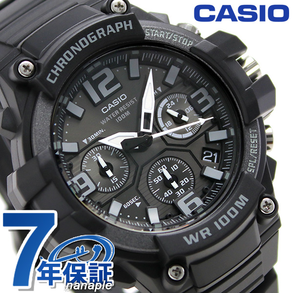 f74873ae95 Casio watch チープカシオクロノグラフ 10 standard atmosphere waterproofing men MCW-100H-1A3VCF  ...