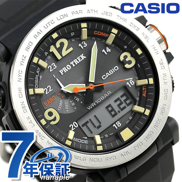 Nanaple casio proto lec prg 600 solar men watch prg 600 1dr casio pro trek black rakuten for Protos watches