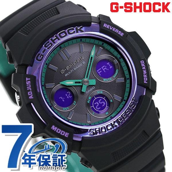 新品 7年保証 送料無料 G-SHOCK 電波 ソーラー メンズ 引出物 腕時計 黒 ブラック カシオ Gショック 卸売り スペシャルカラー パープル 電波ソーラー 時計 グリーン AWG-M100SBL-1AER あす楽対応