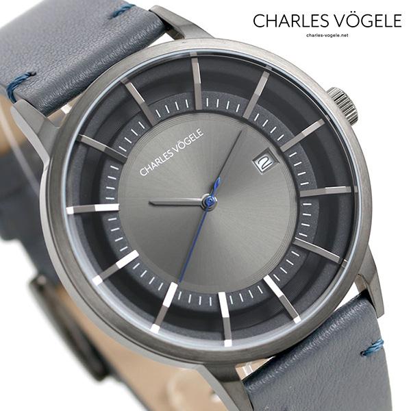 シャルルホーゲル 時計 M-1シリーズ 41mm デイト メンズ 腕時計 M-1 V0718.G37 Charles Vogele グレーシルバー×グレー【あす楽対応】