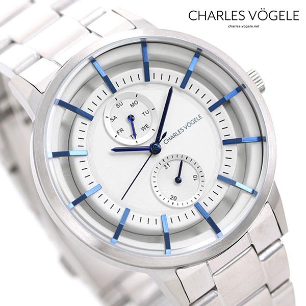 シャルルホーゲル 時計 M-5シリーズ 41mm デイデイト メンズ 腕時計 M-5 V0722.S02 Charles Vogele シルバー【あす楽対応】