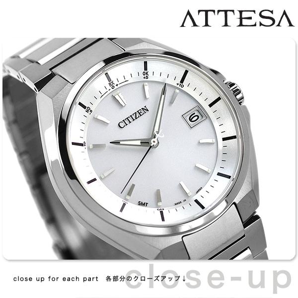 CB3010-57A シチズン アテッサ エコドライブ 電波時計 メンズ 腕時計 チタン カレンダー CITIZEN ATTESA ホワイト 白 時計