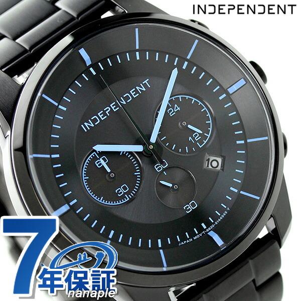 店内ポイント最大43倍!16日1時59分まで! インディペンデント タイムレスライン クロノグラフ ソーラー KF5-144-51 INDEPENDENT 腕時計 オールブラック×ブルー 時計