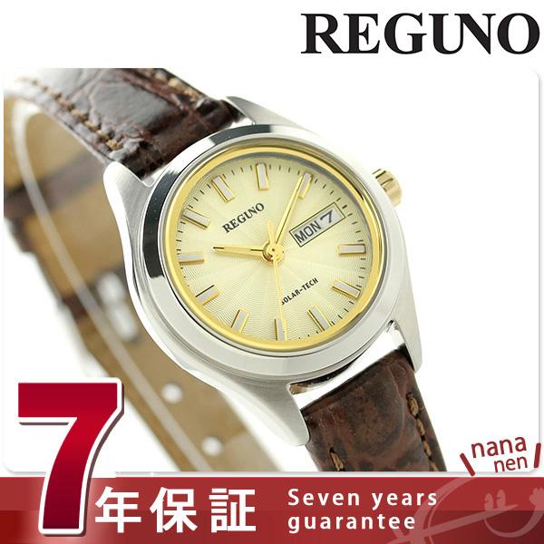 シチズン レグノ リングソーラー レディース 腕時計 KM2-012-90 CITIZEN REGUNO ゴールド×ブラウン 時計