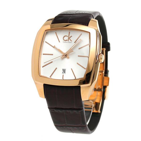 ck CK再塞思瑞士制造人手表K2K21620 ck Calvin Klein银子×暗褐色