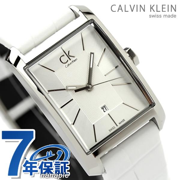 カルバンクライン レディース 腕時計 window シルバー×ホワイトレザー K2M23120 時計