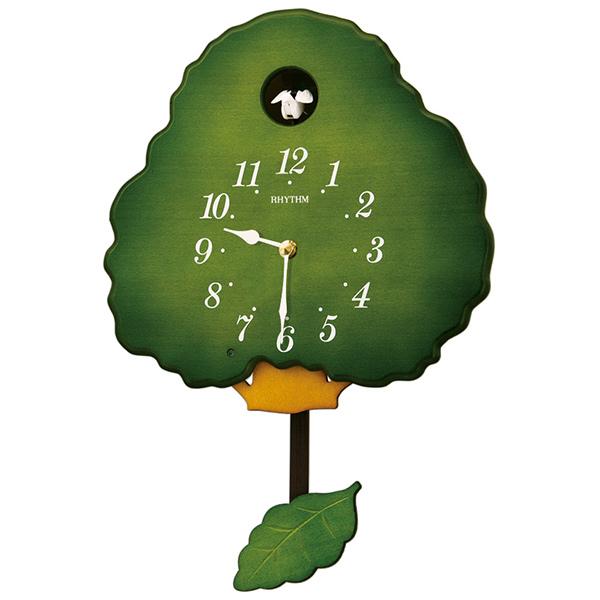 クロック リズム 掛時計 クオーツ 飾り振子付 4MJ413RH05 RHYTHM 時計
