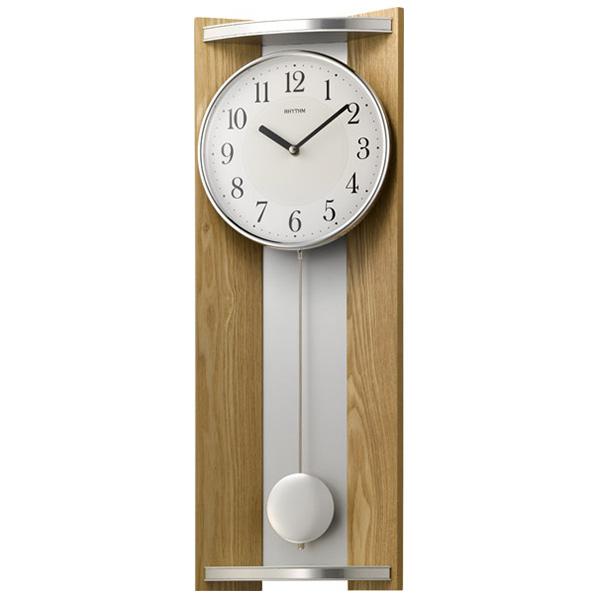 クロック リズム 掛時計 クオーツ 飾り振り子付 4MPA05RH07 RHYTHM 時計