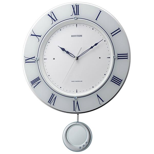 クロック リズム 掛時計 電波 振り子飾り 8MX402SR03 RHYTHM 時計
