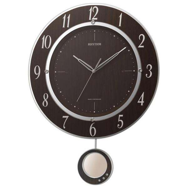 クロック リズム 掛時計 電波 振り子飾り 8MX403SR23 RHYTHM 時計