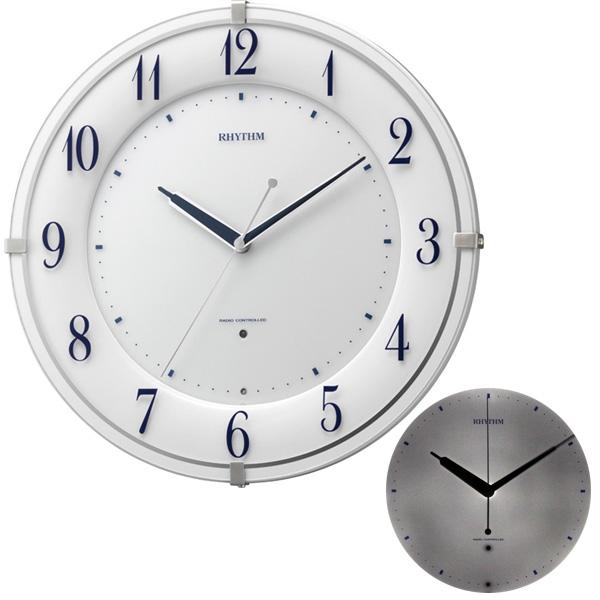 クロック リズム 掛時計 電波 夜間自動点灯 8MY497SR03 RHYTHM 時計