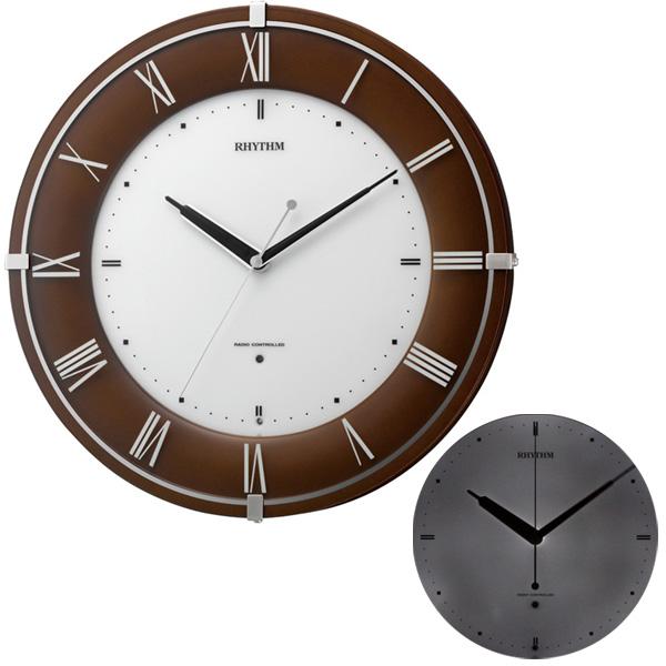 クロック リズム 掛時計 電波 夜間自動点灯 8MY497SR06 RHYTHM 時計