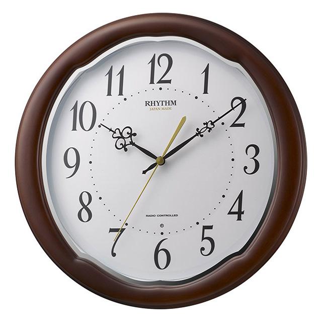クロック リズム フィットウェーブアヤ 電波 掛時計 8MY513SR06 RHYTHM 時計