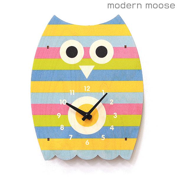 クロック モダンムース modern moose フクロウ かわいい 掛時計 PC080 木製