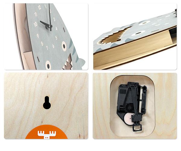钟表摩登慕斯挂钟鲨鱼摆子波罗的伯奇木材modern moose PCPEN025