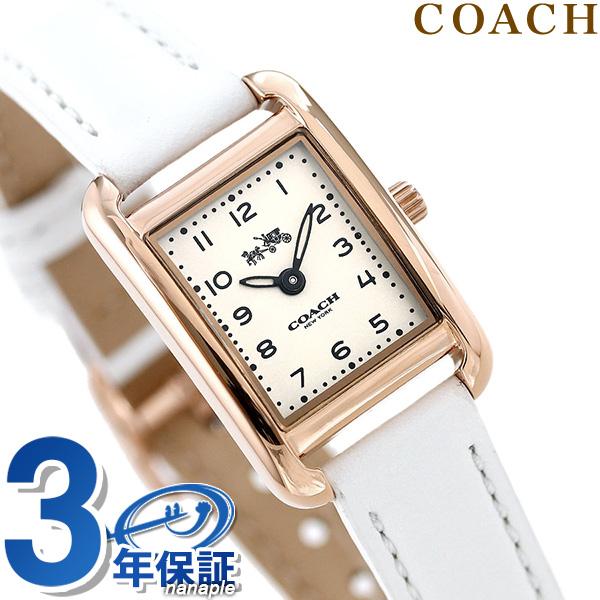 コーチ 時計 レディース COACH 腕時計 トンプソン スクエア 革ベルト 14502298 シルバー×ホワイト【あす楽対応】