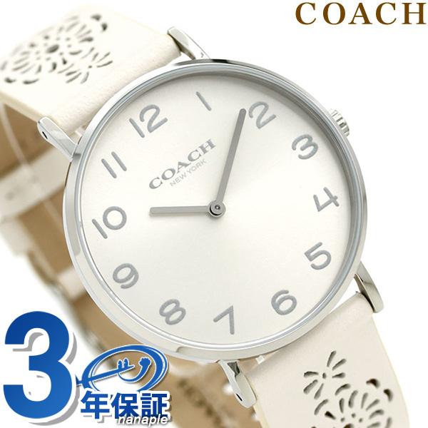 コーチ 腕時計 レディース COACH 花柄 シルバー×アイボリー 14503029 ペリー 36mm 革ベルト 時計【あす楽対応】