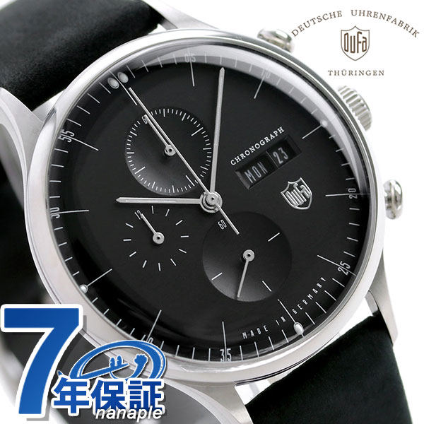 DUFA ドゥッファ バルセロナ クロノグラフ ドイツ製 DF-9021-J1 メンズ 腕時計 革ベルト 時計
