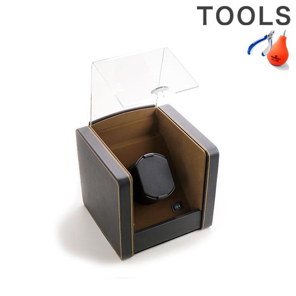 【25日は全品10倍にさらに+6倍でポイント最大29倍】 ワインディングマシン ワインダー 自動巻き腕時計用 1本巻き上げ マブチモーター 1本収納 時計ケース SP2183021BK ブラック×ブラウン ワインディングマシーン